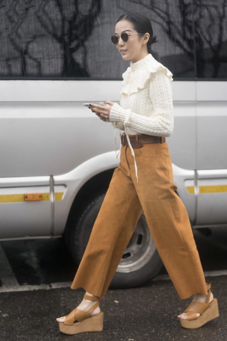 victorian-blouse-suede-pants-suede-culottes-cropped-pants-platform-sandals-wedges-spring-work-outfit-wheresmydriver-instagram-640x960