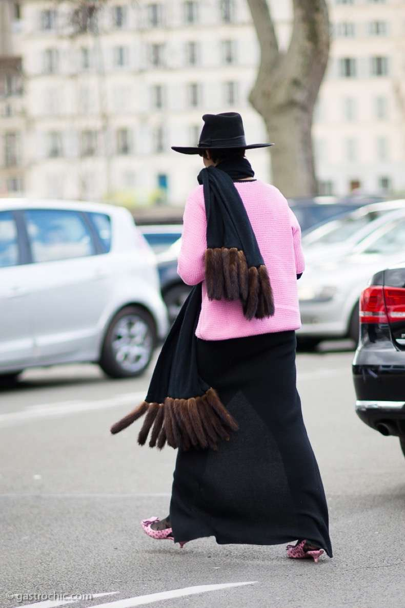 Black Hat and Fur Fringe Scarf, Outside Dries Van Noten