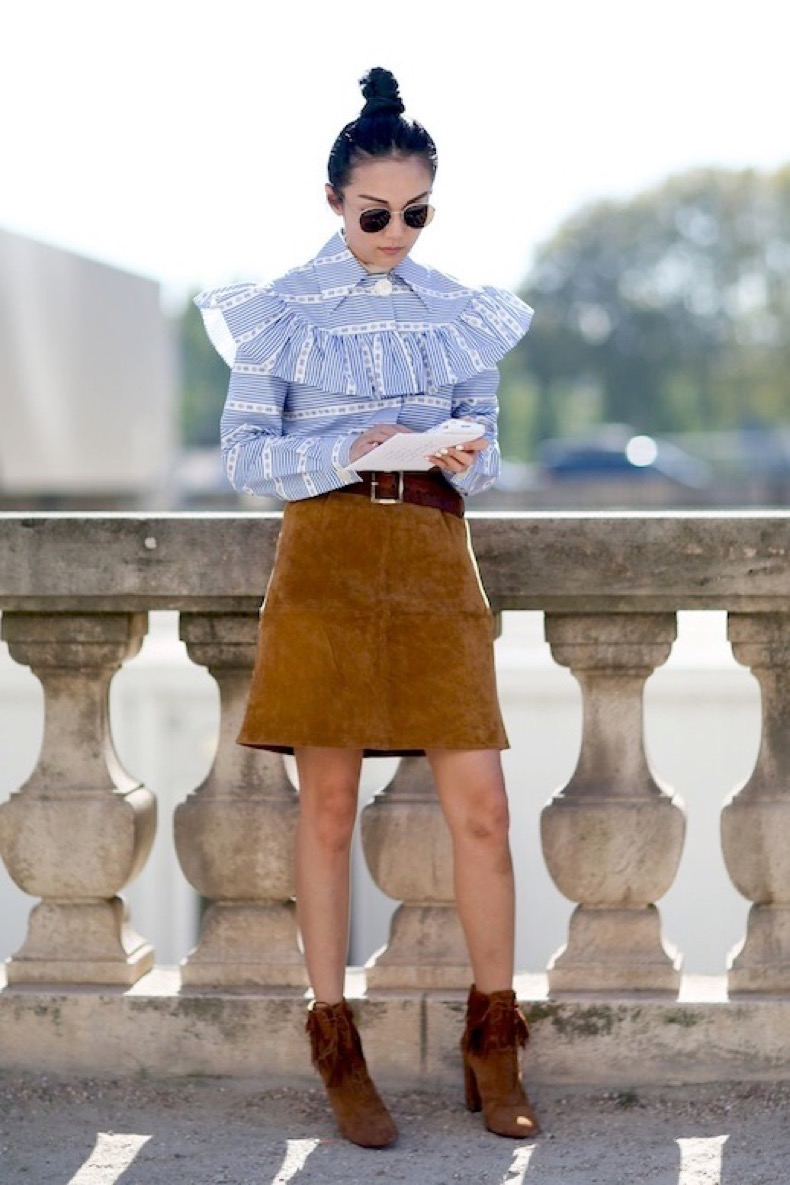Le-Fashion-Blog-Street-Style-Pfw-Sunglasses-Top-Knot-Prairie-Inspired-Print-Ruffle-Top-Brown-Suede-Skirt-Fringed-Booties-Via-Refinery29