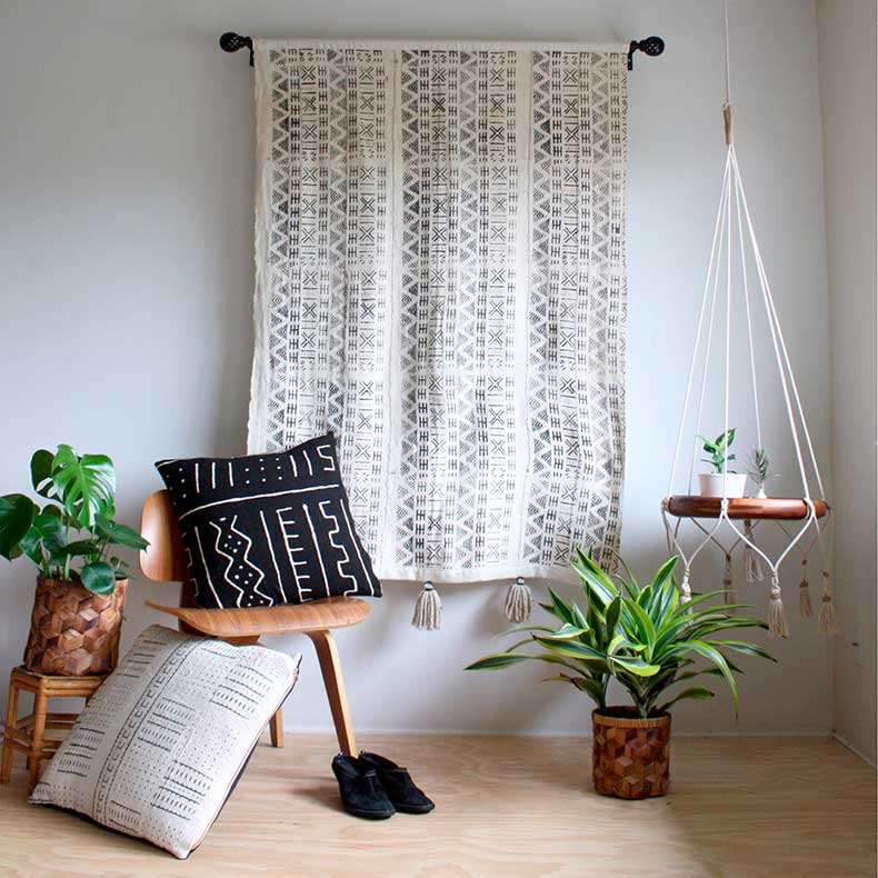 Mud_cloth_house_plants_boho_decor