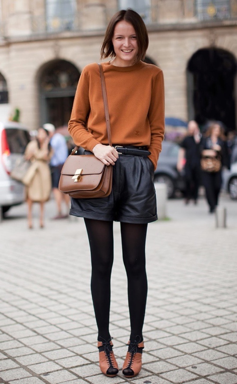 STOCKHOLM-STREETSTYLE-BLACK-LEATHER-SHORTS-BLACK-TIGHTS-CELINE-CLASSIC-BOX-BAG-CAMEL-SWEATER-LACE-UP-HEELS-SANDALS-STREET-STYLE-FASHION-WEEK