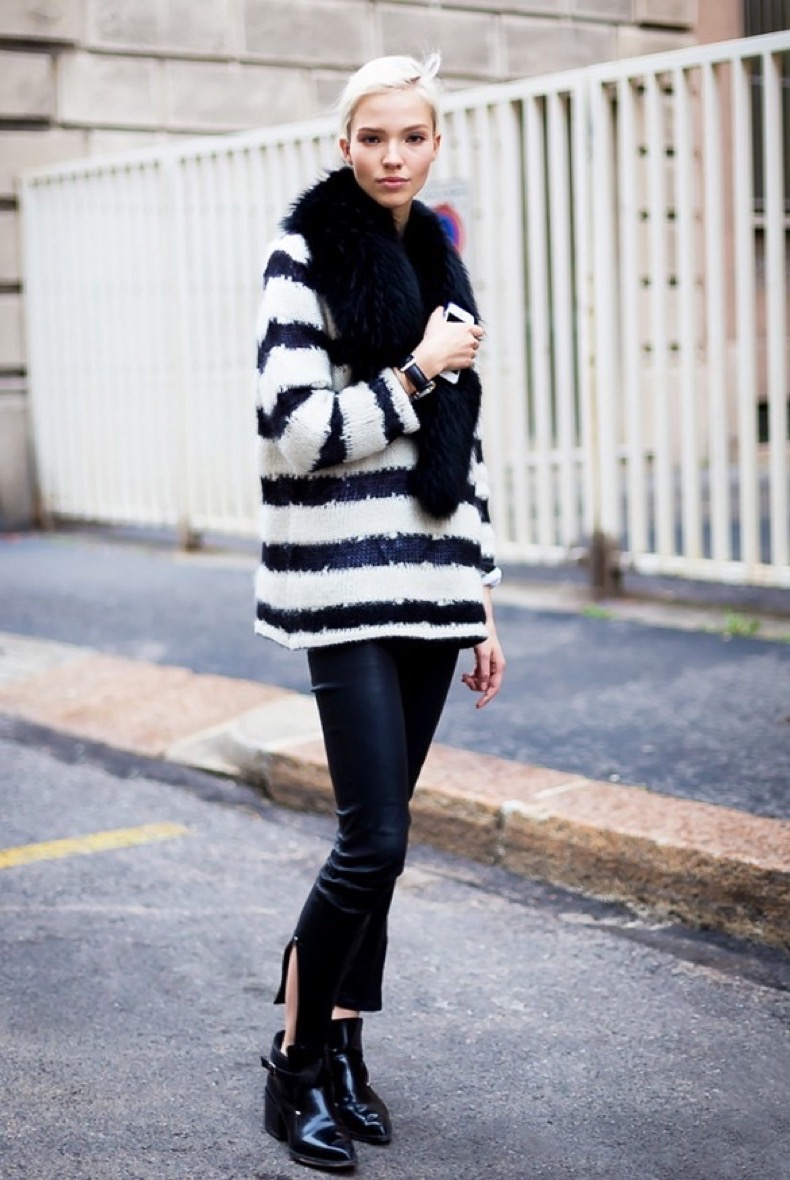 black-cropped-leather-pants-striped-sweater-fuzzy-sweater-black-ankle-boots-chelsea-boots-via-style-du-monde-via-who-what-wear