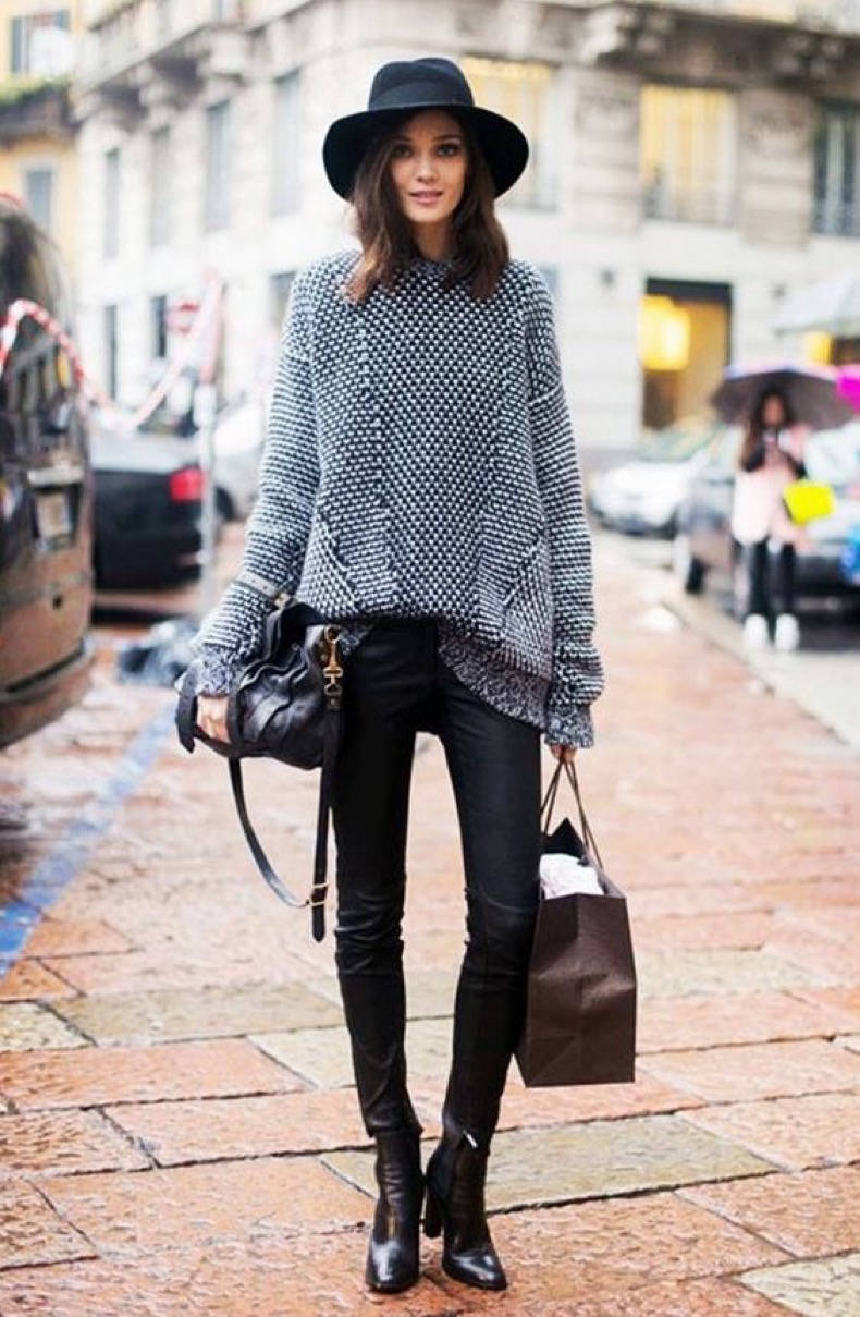 black-wide-brim-hat-oversized-knit-sweater-black-leather-skinnies-and-black-ankle-boots-autumn-winter-winter-style-street-style-street-styles-leather-pants-oversized-sweaters-fall-winter