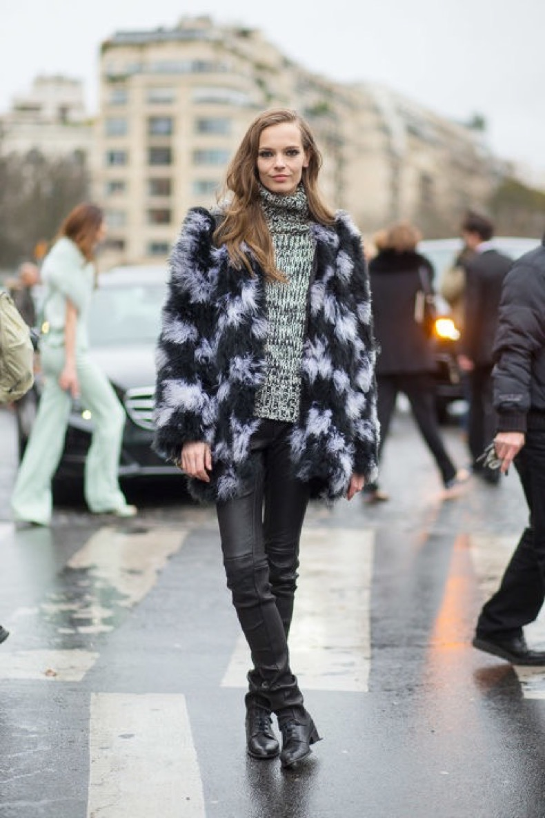colored-fur-coat-tutleneck-sweater-marled-black-leather-skinnies-lace-up-boots-via-harpersbazaar