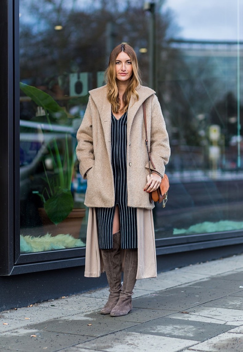 BERLIN, GERMANY - JANUARY 20: Fashion blogger Sofia Grau of She Comes In Colors wearing Zara dress, Stuart Weitzman boots, H&N cardigan Chloe faye bag, joop coat during the Mercedes-Benz Fashion Week Berlin Autumn/Winter 2016 at Brandenburg Gate on January 20, 2016 in Berlin, Germany. (Photo by Christian Vierig/Getty Images for IMG)