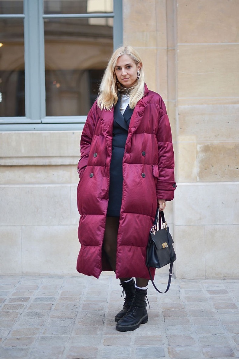 PARIS, FRANCE - JANUARY 25: A guest poses wearing a Dries Van Noten coat before the Schiaparelli show at Place Vendome during Haute Couture on January 25, 2016 in Paris, France. (Photo by Vanni Bassetti/Getty Images)