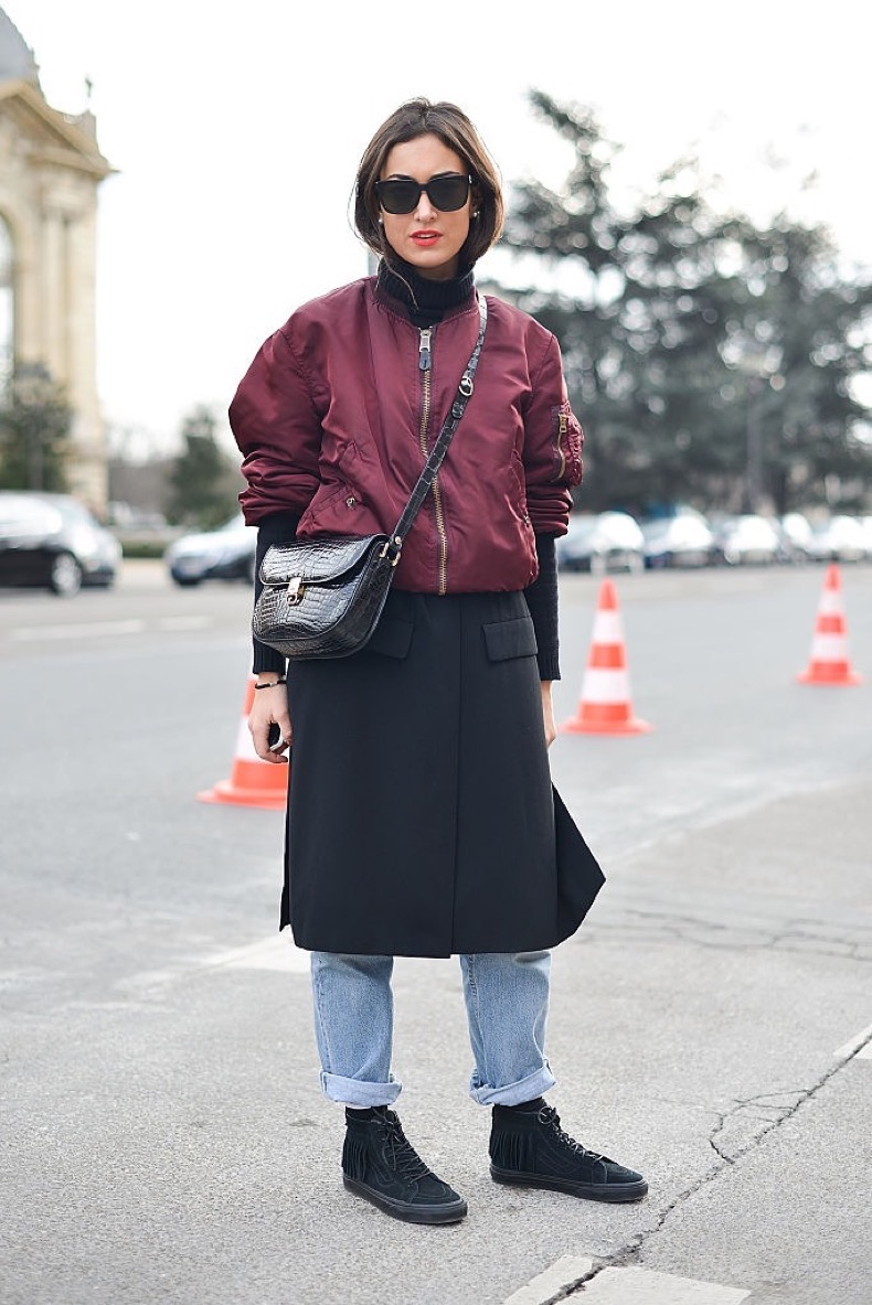 PARIS, FRANCE - JANUARY 26: Giulia Alborghetti poses wearing an Alpha Industries bomber jacket and Vans shoes before the Chanel show at the Grand Palais during Haute Couture on January 26, 2016 in Paris, France. (Photo by Vanni Bassetti/Getty Images)