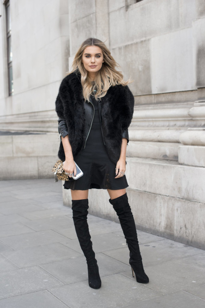 thigh-high-boots-over-the-knee-boots-tulip-skirt-peplum-dress-lbd-fur-scarf-black-leather-moto-jacket-office-to-out-going-out-party-lfw-street-style-psuk-getty-640x960