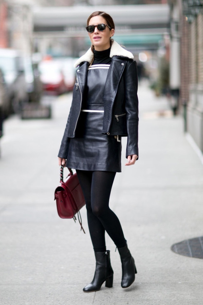 turtleneck-under-dress-black-and-white-shearling-moto-jacket-ankle-boots-black-tights-winter-work-outfit-going-out-night-out-nyfw-street-style-black-turtleneck-ps-640x960