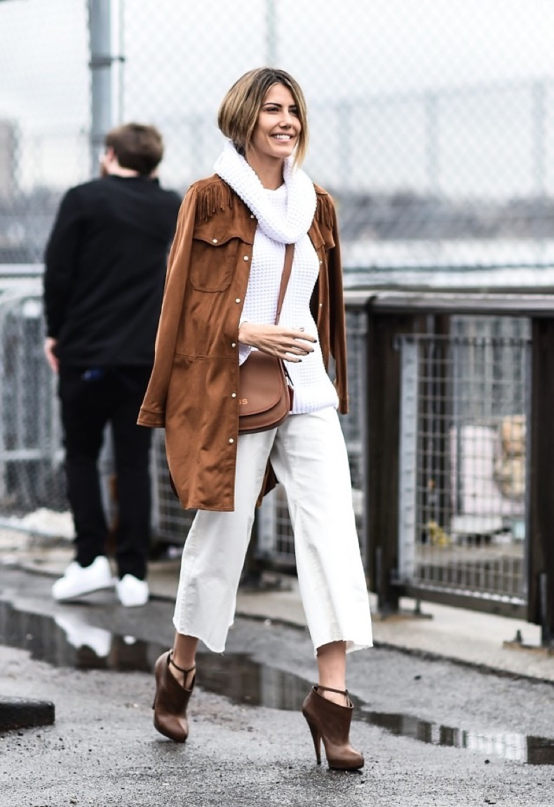 NEW YORK, NY - FEBRUARY 16: Martha Graeff is seen outside the Coach show wearing a brown coat, white sweater, white pants, brown shoes and a personalized brown bag during New York Fashion Week: Women's Fall/Winter 2016 on February 16, 2016 in New York City. (Photo by Daniel Zuchnik/Getty Images)