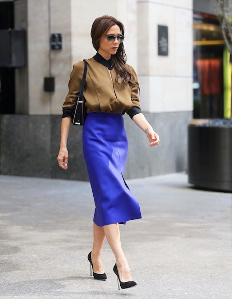 Victoria Beckham steps out in a blue skirt in New York City