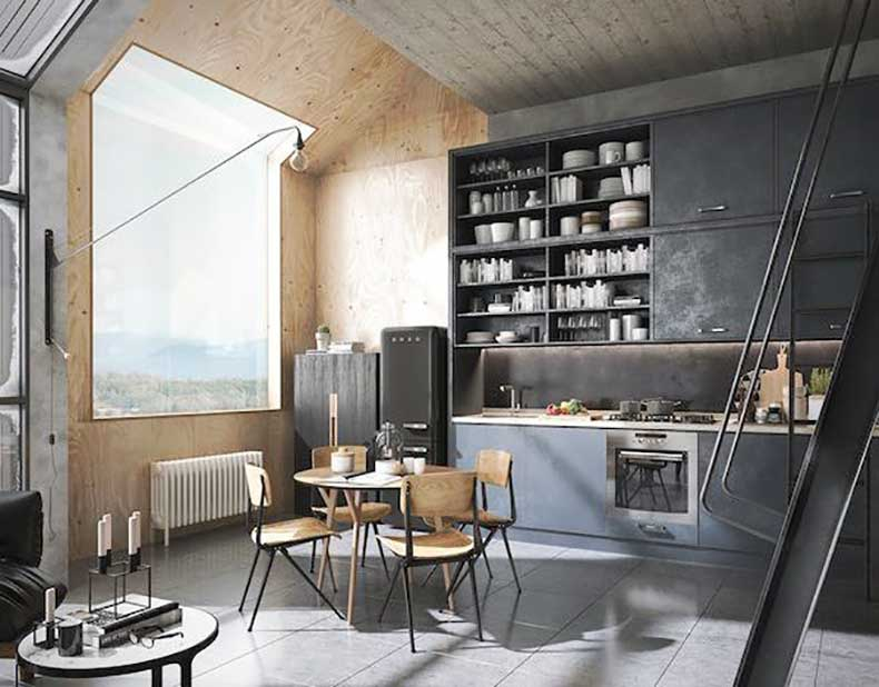 A-bright-loft-with-lots-of-plywood-and-black-tones