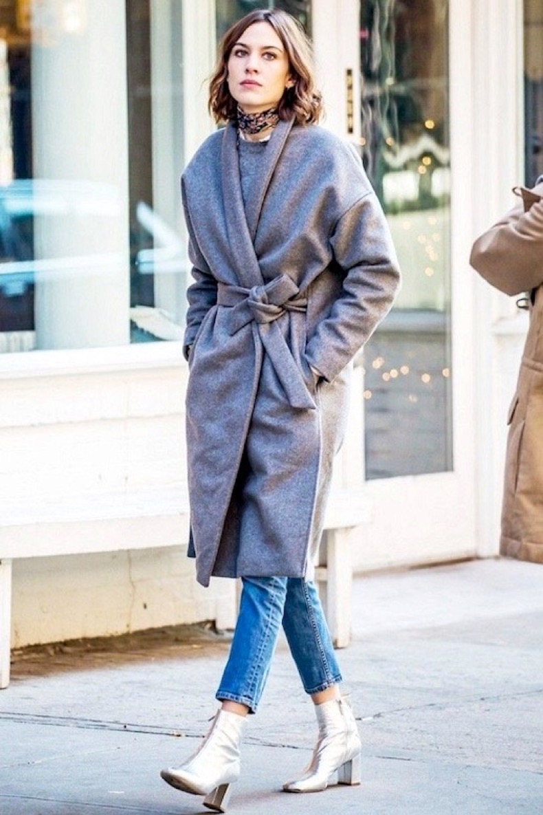 Le-Fashion-Blog-Alexa-Chung-Winter-Street-Style-Silk-Bandana-Grey-Wool-Belted-Coat-Cropped-Straight-Leg-Jeans-Silver-Ankle-Boots-Via-Who-What-Wear