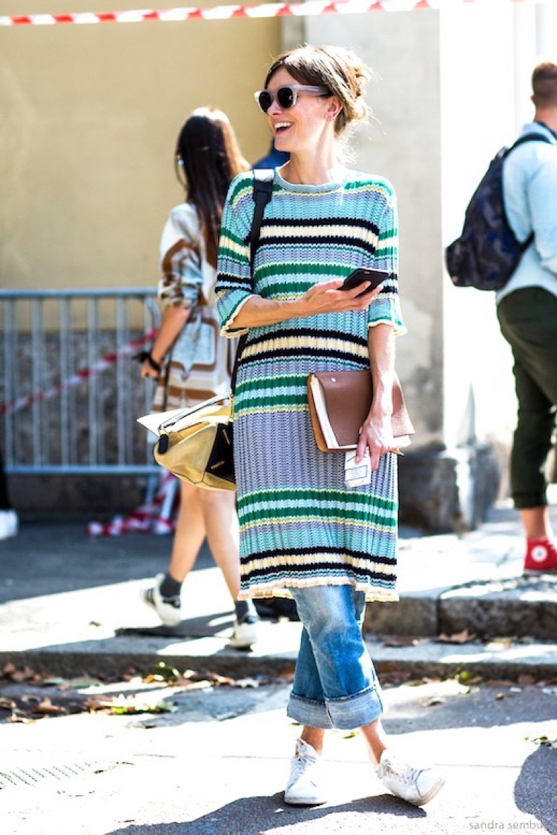 Le-Fashion-Blog-Mfw-Street-Style-Long-Ribbed-Striped-Sweater-Cuffed-Boyfriend-Denim-White-Sneakers-Via-A-Love-is-Blind