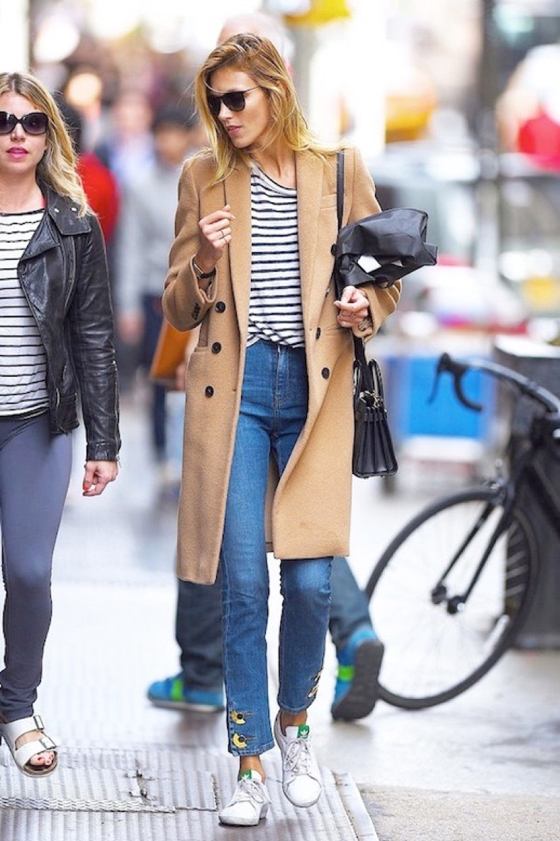 Le-Fashion-Blog-Model-Off-Duty-Style-Casual-Cool-Look-Anja-Rubik-Sunglasses-Striped-Tee-Long-Camel-Coat-Cropped-Jeans-Mini-Bag-Stan-Smith-Adidas-Sneakers-Via-Vogue