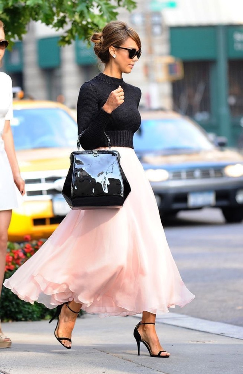 blush-dress-and-black-cropped-sweater