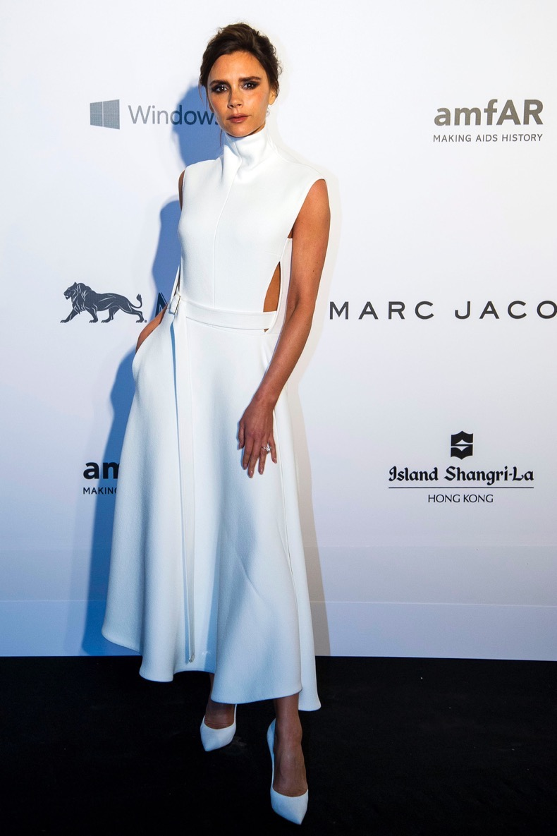 HONG KONG - MARCH 14: Fashion Designer and Singer Victoria Beckham arrives on the red carpet during the 2015 amfAR Hong Kong gala at Shaw Studios on March 14, 2015 in Hong Kong. (Photo by Moses Ng/Getty Images)