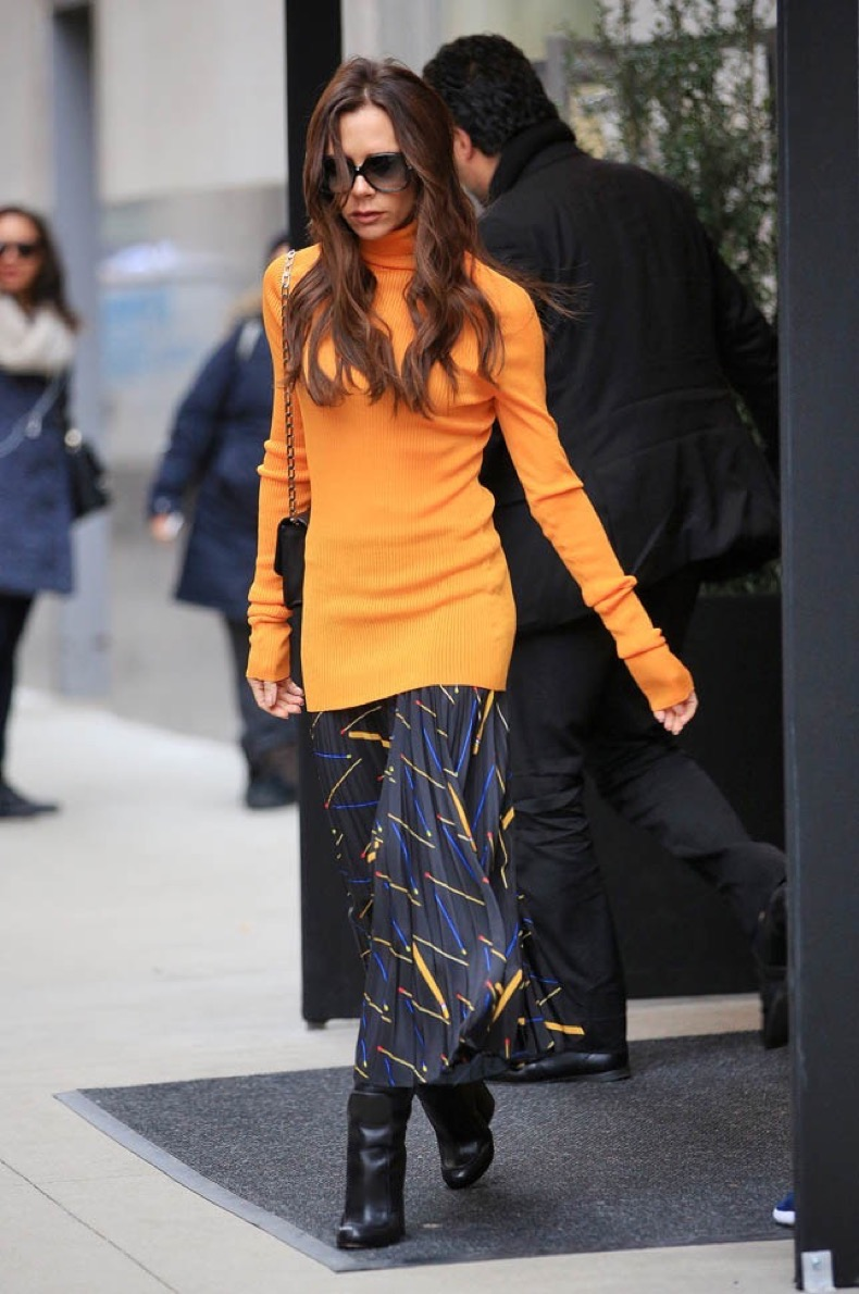 Victoria Beckham wears orange when heading out for work in NYC Pictured: Victoria Beckham Ref: SPL1221541 080216 Picture by: Jackson Lee / Splash News Splash News and Pictures Los Angeles:310-821-2666 New York:212-619-2666 London:870-934-2666 photodesk@splashnews.com