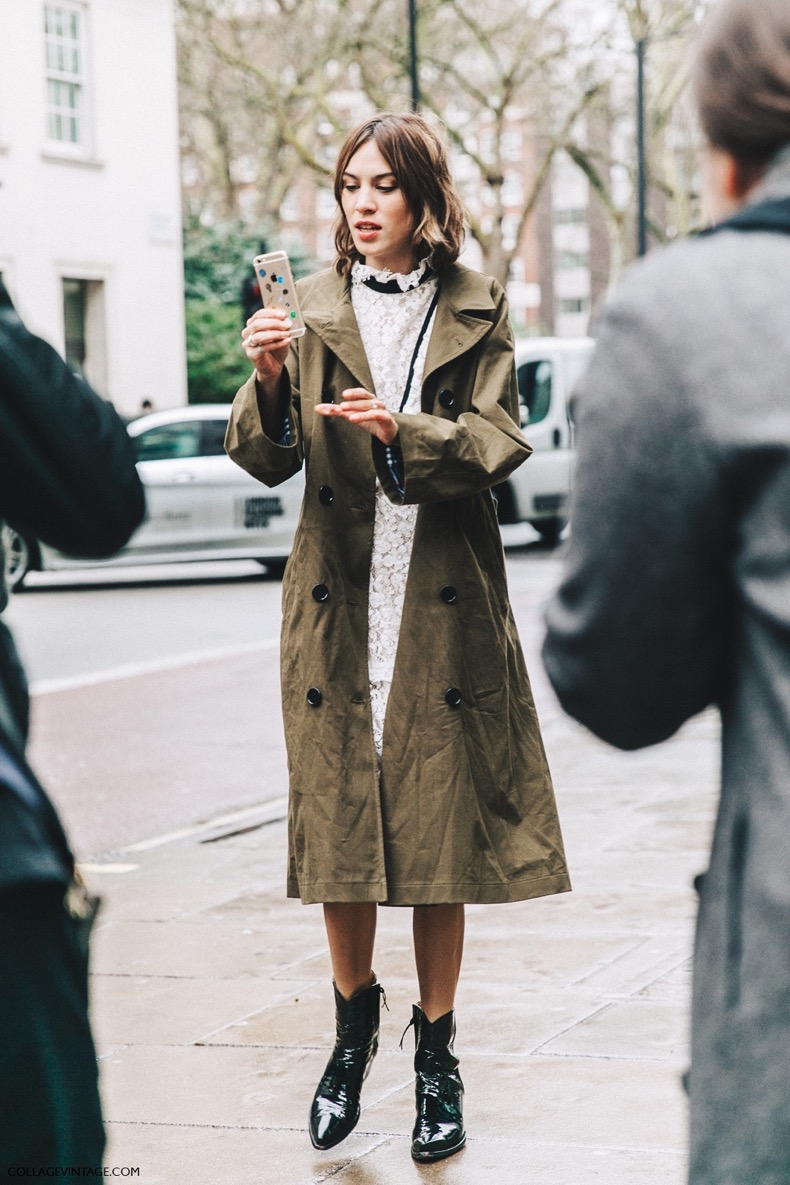 LFW-London_Fashion_Week_Fall_16-Street_Style-Collage_Vintage-Alexa_Chung-Trench_Coat-Cowboy_Boots-Erdem-Lace_Dress-10