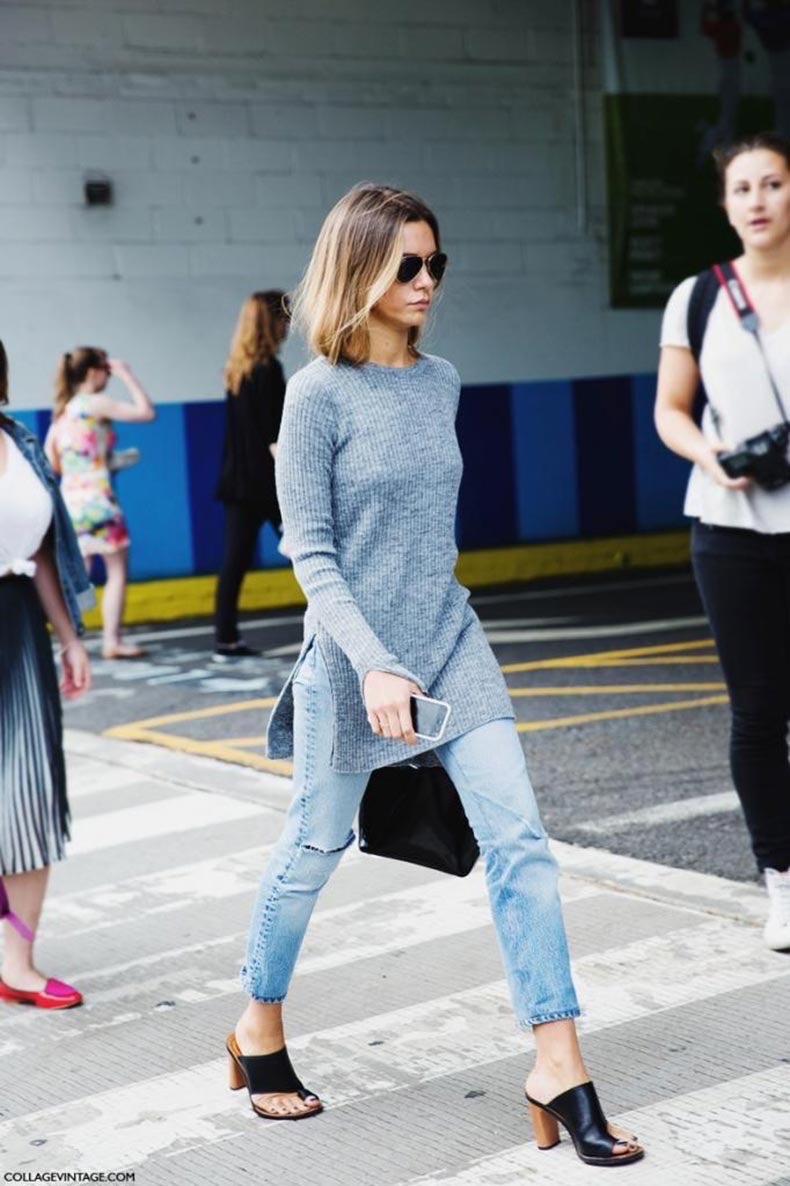 Le-Fashion-Blog-2-Ways-Ribbed-Grey-Side-Slit-Sweater-Denim-Mules-New-York-Fashion-Week-Street-Style-Via-Collage-Vintage