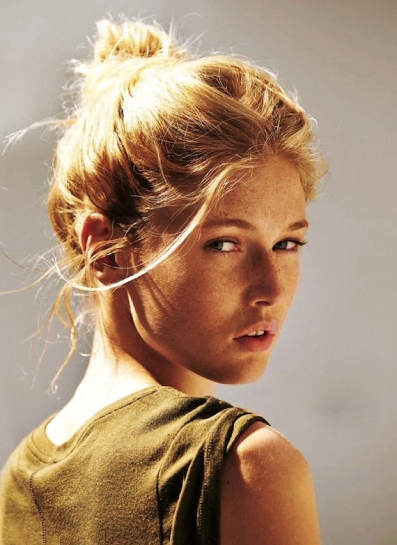 Le-Fashion-Blog-Blonde-Tousled-Messy-Bun-Hairstyle-Dark-Green-Tank-Top-Via-Glamour-Germany