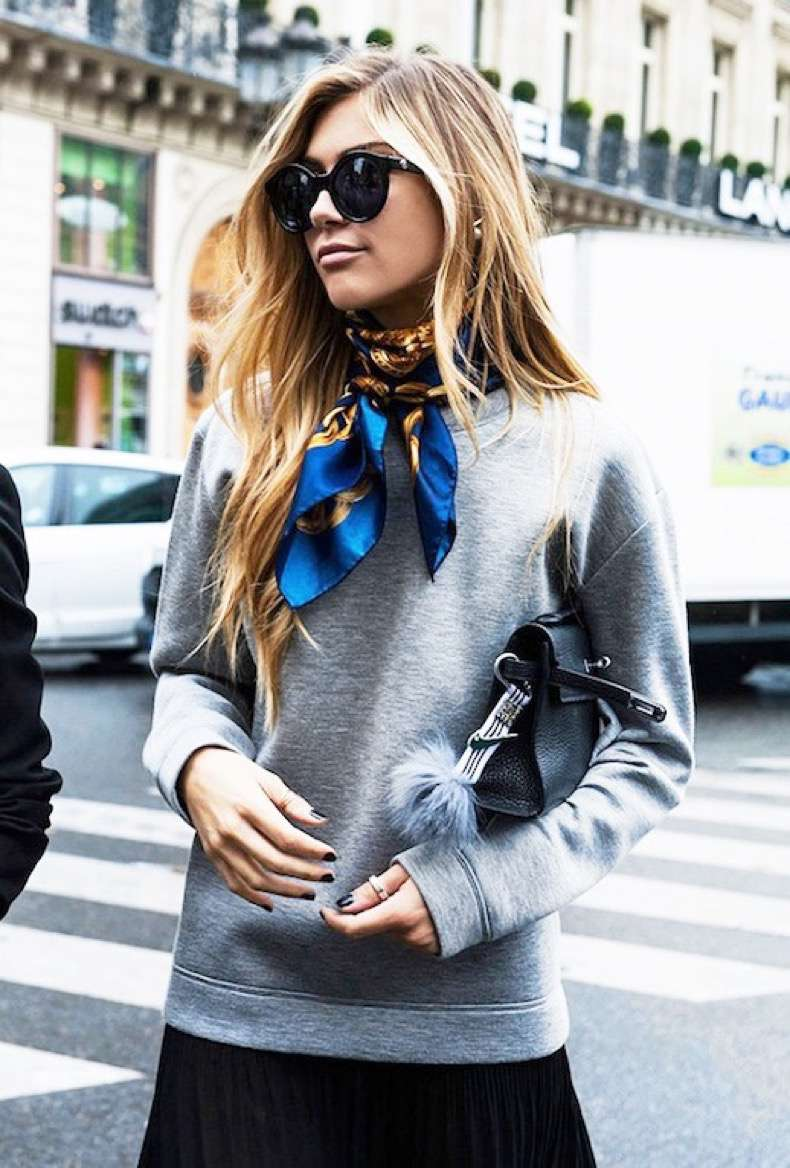 Le-Fashion-Blog-Street-Style-Black-Oversize-Round-Sunglasses-Grey-Sweatshirt-Silk-Print-Neck-Scarf-Leather-Purse-With-Fur-Pom-Black-Pleated-Skirt-Via-WWW