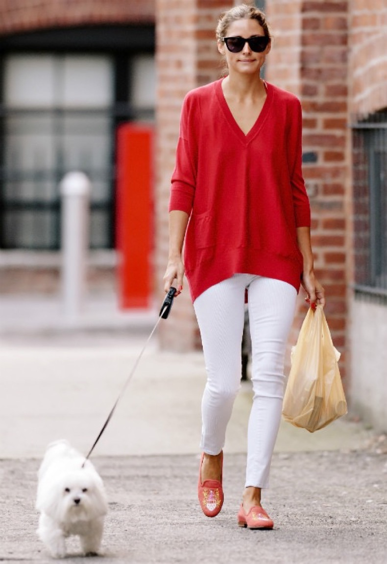 Olivia-Palermo-LookBook-2013-and-Style-Finder-red-sweater-and-white-pants