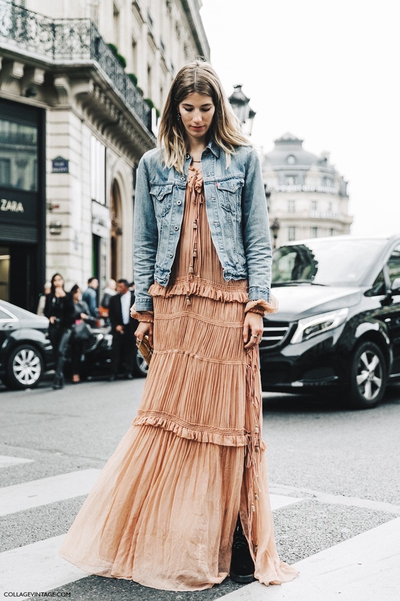 PFW-Paris_Fashion_Week-Spring_Summer_2016-Street_Style-Say_Cheese-Choe_Dress-Long-Maxi-Denim_Jacket-Veronika_Heilbrunner--790x1185