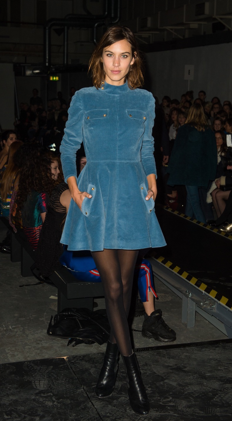 LONDON, ENGLAND - FEBRUARY 21:  Alexa Chung attends the Henry Holland show during London Fashion Week Fall/Winter 2015/16 on February 21, 2015 in London, United Kingdom.  (Photo by Samir Hussein/WireImage)