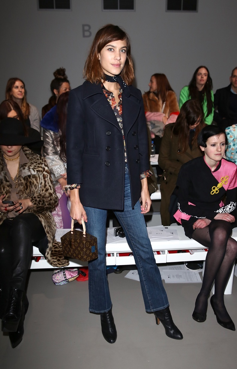 LONDON, ENGLAND - FEBRUARY 24:  Alexa Chung attends the Ashley Williams show during London Fashion Week Fall/Winter 2015/16 at Somerset House on February 24, 2015 in London, England.  (Photo by Tim P. Whitby/Getty Images)