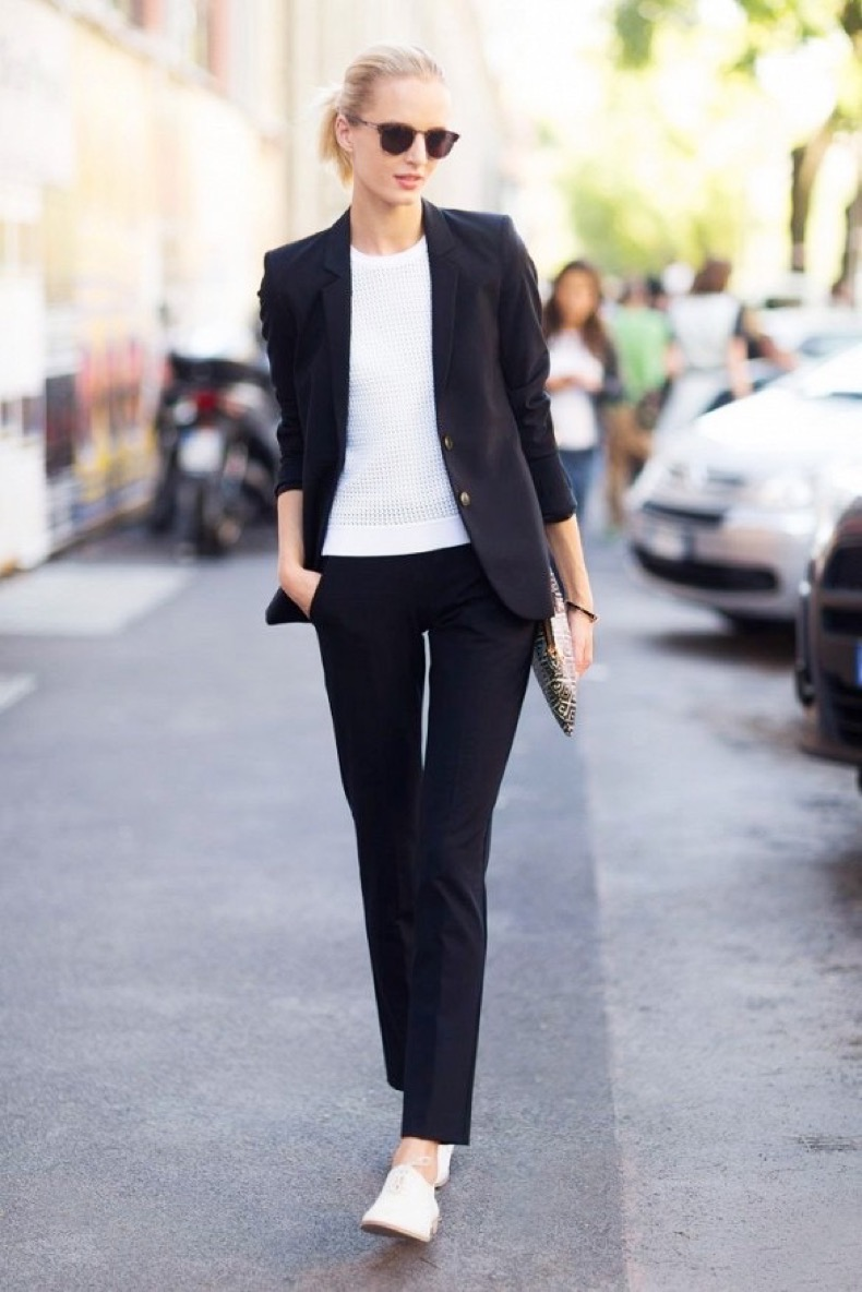 black-and-white-pants-suit-suits-and-sneakers-oxfords-lace-up-oxfords-work-karlna-kurkova-model-style-via-melodie-jeng