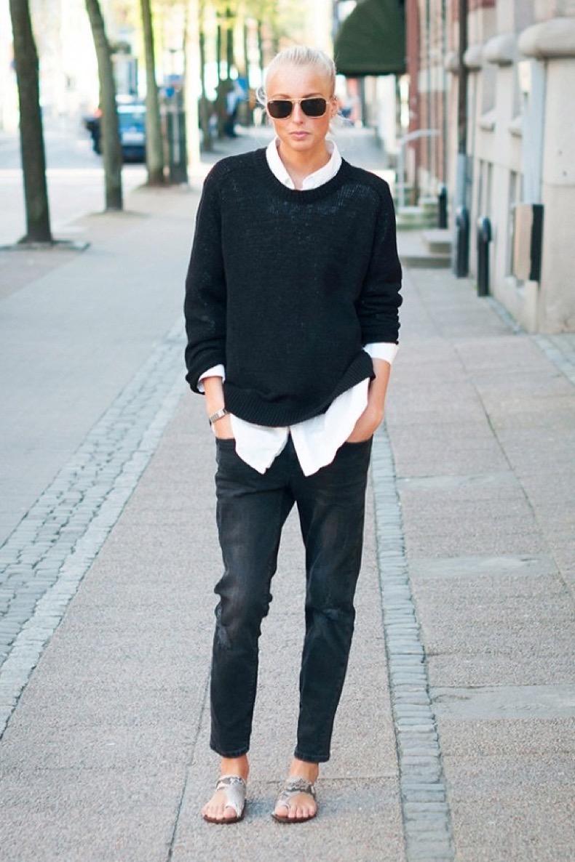 black-and-white-sweater-over-collared-shirt-white-oxford-black-jeans-denim-snakeskin-sandals-black-and-white-weekend-casual-oversized-sweater-menswear-tomboy-via-ellen-claesson