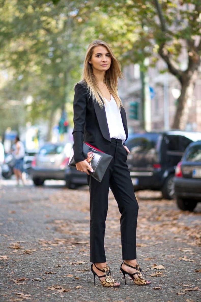 black-pants-suit-leopard-print-heels-via-harpers-bazaar