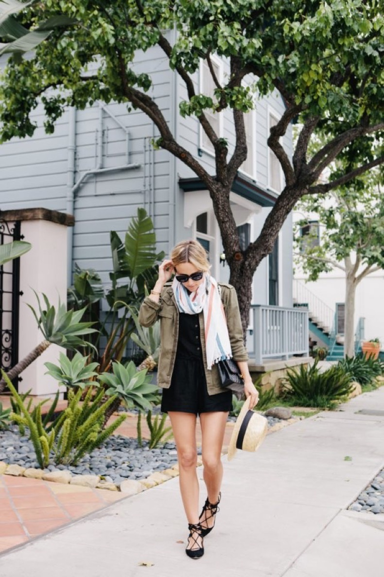 black-romper-army-jacket-lace-up-flats-straw-hat-scarf-weekend-damsel-in-dior-640x960