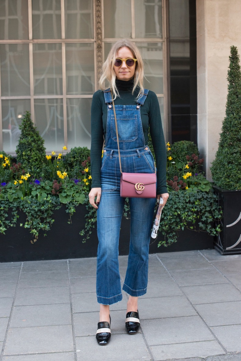 LONDON, ENGLAND - FEBRUARY 23: TV presenter Martha Ward wears H and M dungarees, Club Monaco top, Topshop shoes and a Gucci bag on day 5 during London Fashion Week Autumn/Winter 2016/17 on February 23, 2016 in London, England. (Photo by Kirstin Sinclair/Getty Images)