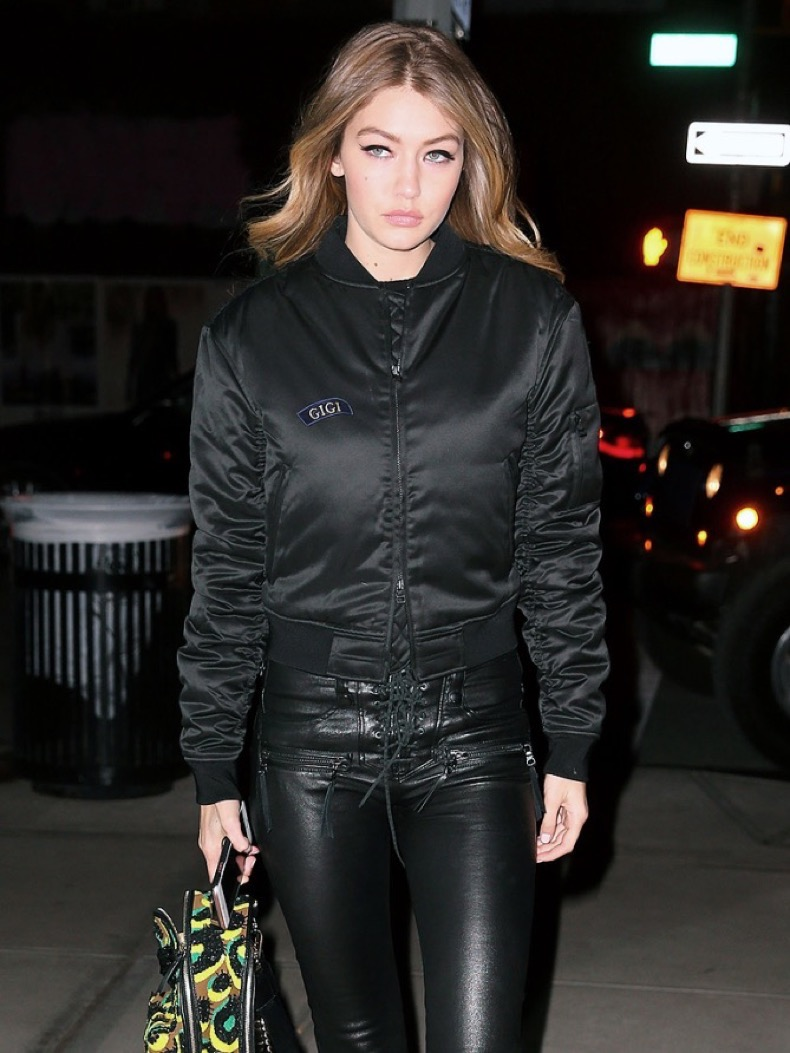 Gigi Hadid out and about in NYC in a leathery outfit Pictured: Gigi Hadid Ref: SPL1224721  100216   Picture by: Jackson Lee / Splash News Splash News and Pictures Los Angeles:	310-821-2666 New York:	212-619-2666 London:	870-934-2666 photodesk@splashnews.com