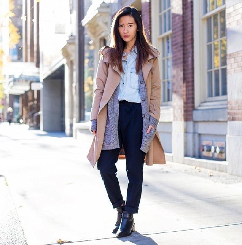 menswear-tomboy-classics-trench-coat-cardigan-boyfriend-cardigan-layers-chambray-shirts-cuffed-trousers-pants-ankle-boots-fall-layered-via-pose.com_