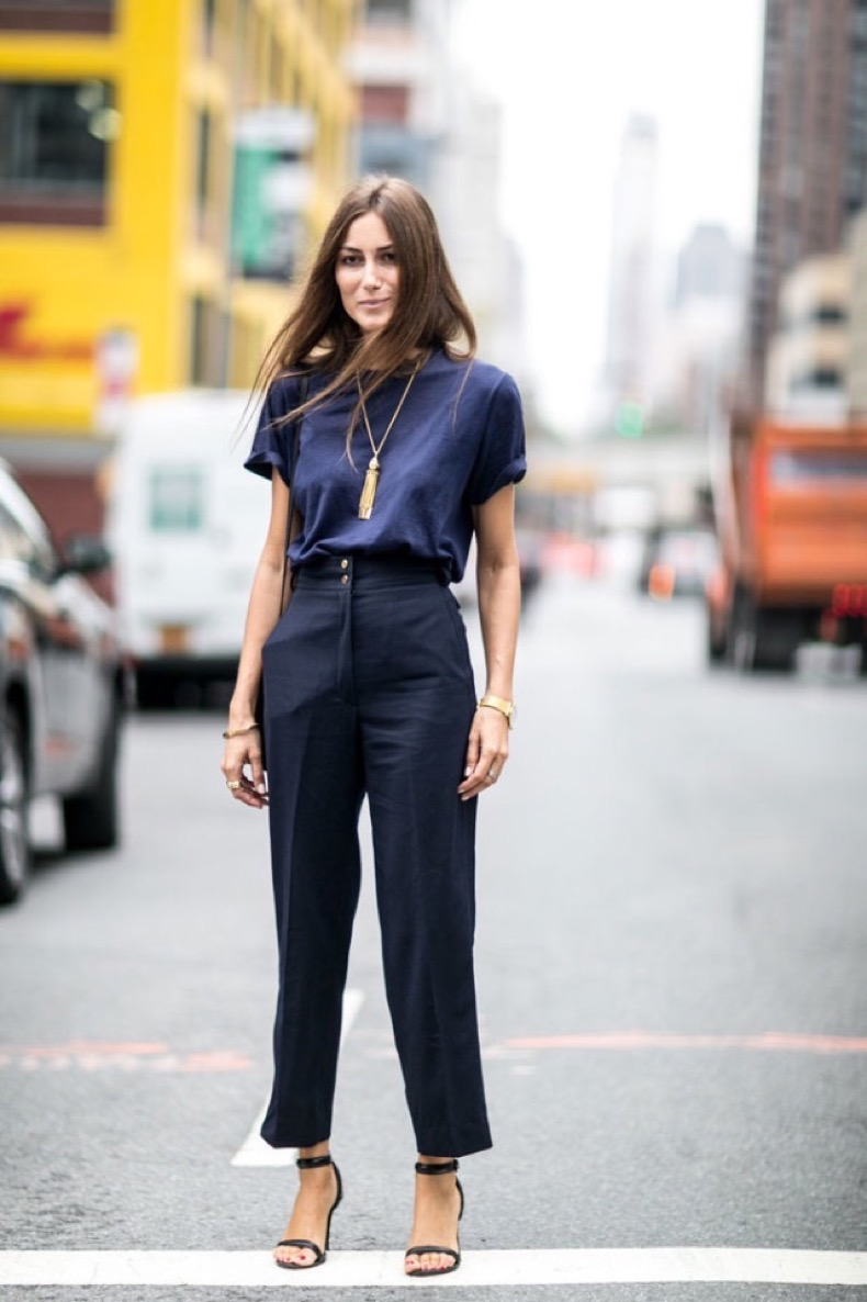 nyfw-navy-and-black-fringe-necklace-pendant-fall-work-outfti-denim-top-black-trousers-high-waisted-pants-simple-black-sandals-accessories-gold-jewelry-via-popsugar-640x961