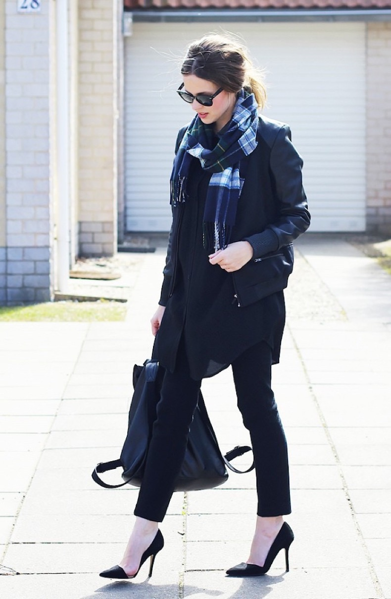 plaid-scarf-going-out-black-leather-moto-jacket-black-skinny-pants-all-black-layers-backpack-via-whowhatwear