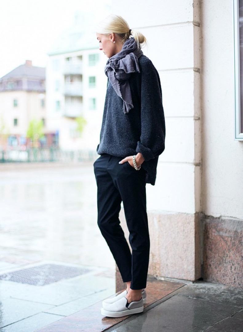 slouchy-menswear-tomboy-oversized-sweaters-grey-gray-black-trouser-pants-slip-on-sneakers-scarves-scarf-via-ellen-claesson