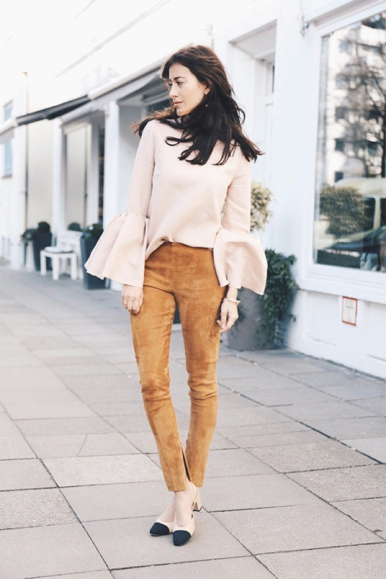 spring-suede-block-heels-two-tone-chanel-shoes-suede-pants-skinnies-bell-sleeves-night-out-going-out-spring-outfit-work-hug-you-640x960
