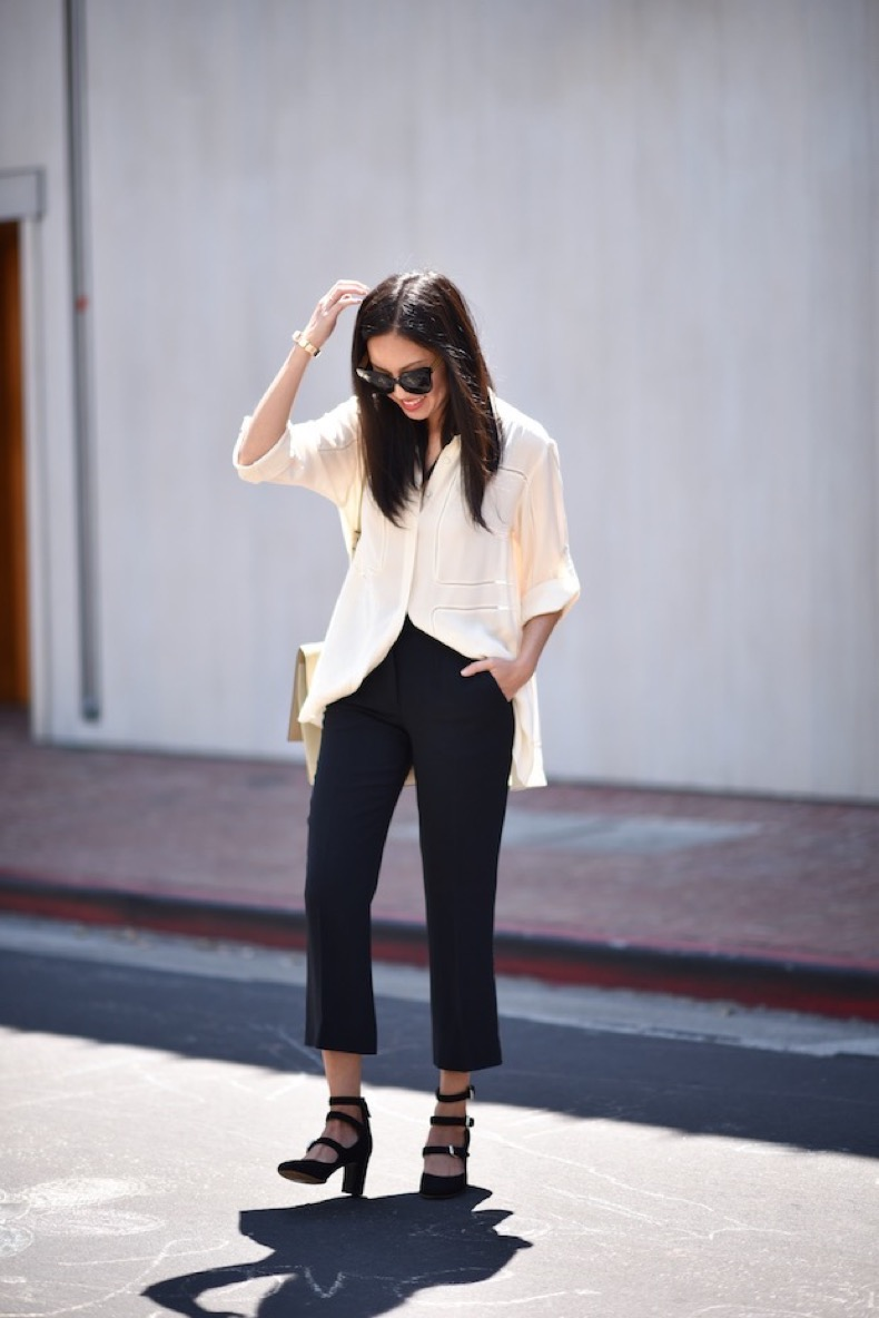 summer-work-outfit-cropped-black-pants-oversied-shirt-buckle-shoes-mary-janes-black-and-white-9-to-5-chic