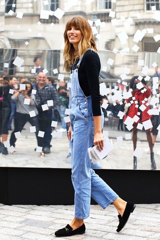 le-fashion-blog-london-street-style-veronika-heilbrunner-bangs-denim-jean-overalls-black-suede-gucci-loafers-via-vogue