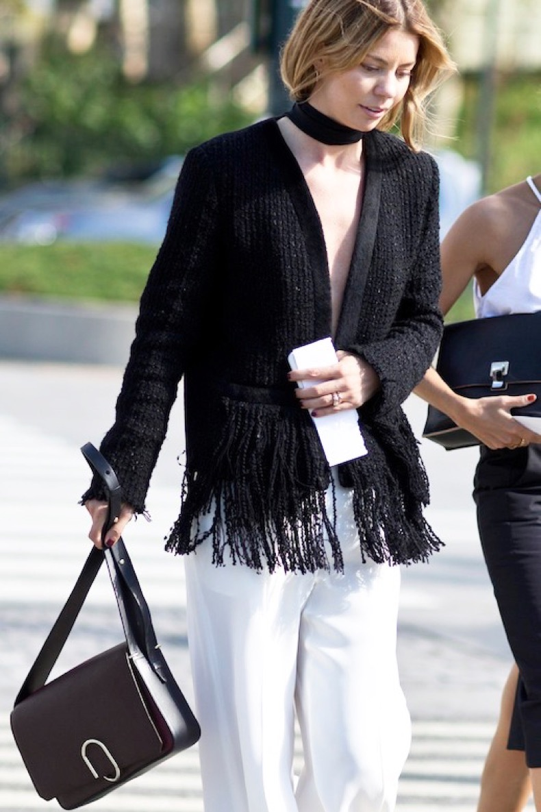 Le-Fashion-Blog-Nyfw-Street-Style-Black-And-White-Look-Wide-Choker-Fringe-Detailed-Jacket-3.1-Phillip-Lim-Bag-Flowy-Trousers-Via-Style-Caster