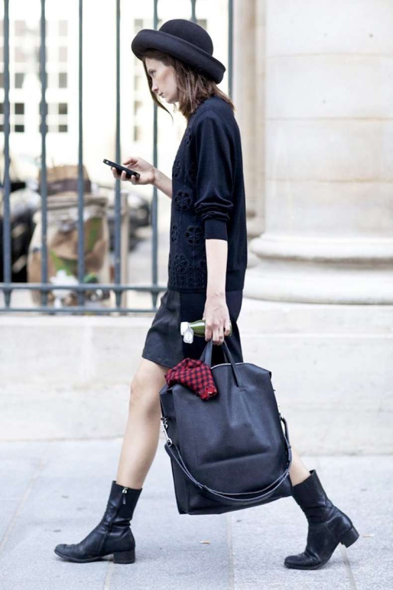 le-fashion-blog-street-style-all-black-look-pfw-hat-sweater-large-leather-tote-bag-short-skirt-combat-boots-via-popsugar
