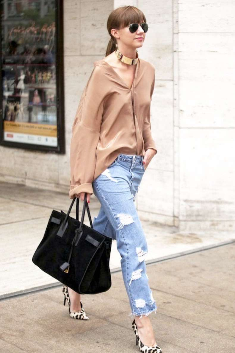 le-fashion-blog-street-style-gold-choker-beige-silk-button-down-shirt-ripped-boyfriend-jeans-black-suede-tote-bag-leopard-print-pumps-via-popsugar