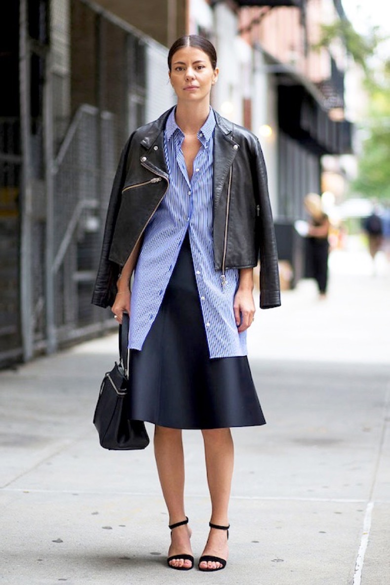 Le-Fashion-Blog-Street-Style-Leather-Jacket-Blue-Striped-Button-Down-Shirt-Top-Handle-Leather-Bag-Navy-High-Waisted-Skirt-Black-Ankle-Strap-Sandals-Via-Harpers-Bazaar