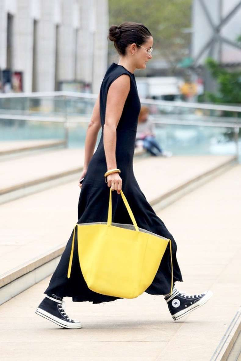 le-fashion-blog-street-style-nyfw-lucy-chadwick-maxi-sleeveless-dress-converse-high-top-sneakers-bright-yellow-tote-bag-via-popsugar