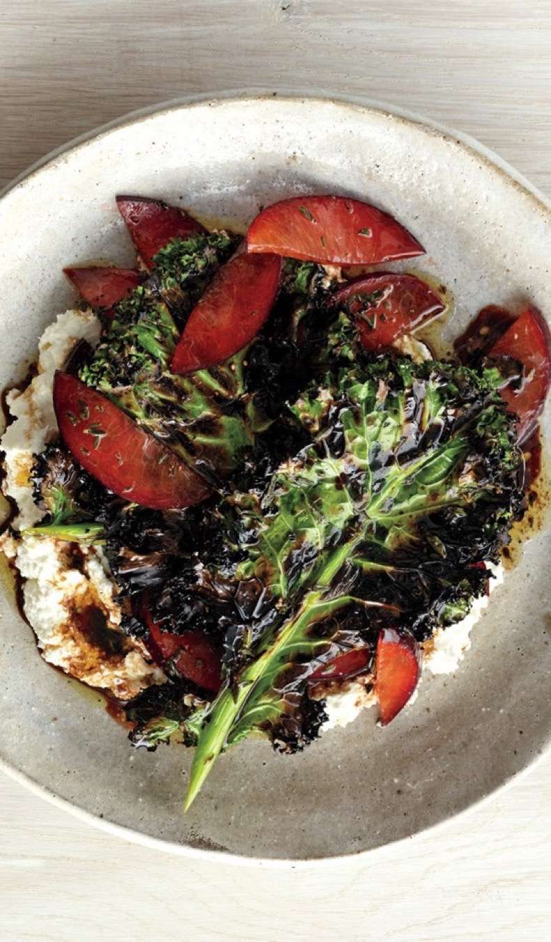 grilled-kale-salad-with-ricotta-and-plums
