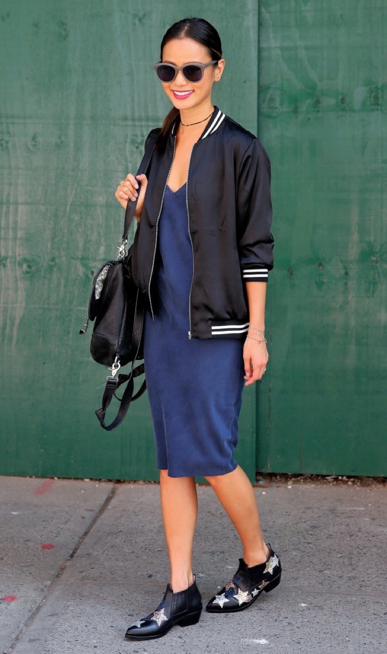 Actress Jamie Chung, wearing a blue slip dress, 'Good Vibes' jacket and star-spangled ankle boots, shops in Soho in New York City Pictured: Jamie Chung Ref: SPL1349389  080916   Picture by: Christopher Peterson/Splash News Splash News and Pictures Los Angeles:310-821-2666 New York:212-619-2666 London:870-934-2666 photodesk@splashnews.com